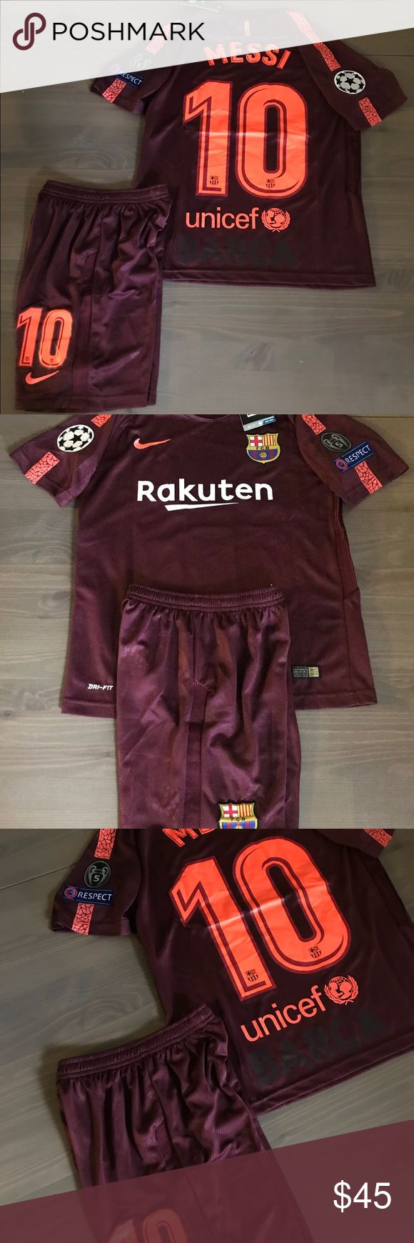 Kids kit Barcelona burgundy Messi #10 nike soccer Kids kit Barcelona Away burgundy Messi #10 nike soccer champions league jersey+short Size: 10-11 Yrs. 8-9 Yrs. Nike Matching Sets