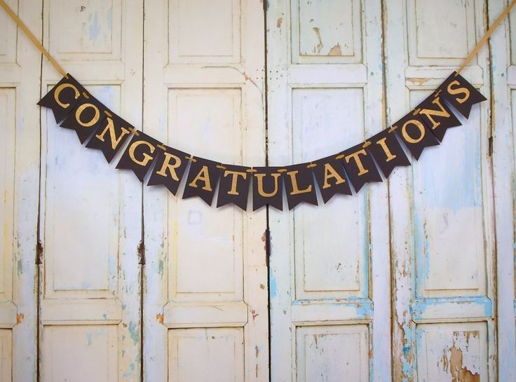 Congratulations Banner, Congrats Sign, Black and Gold Banner, Graduation Banner, Black and Gold Congrats Banner, Congratulations Sign by PaperEtcStudio on Etsy