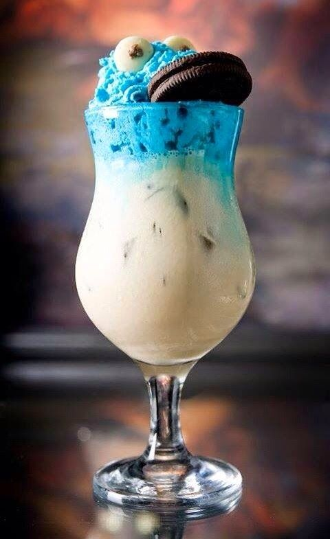 Cookie monster smoothie.Delicious and healthy nonalcoholic mixed drink.