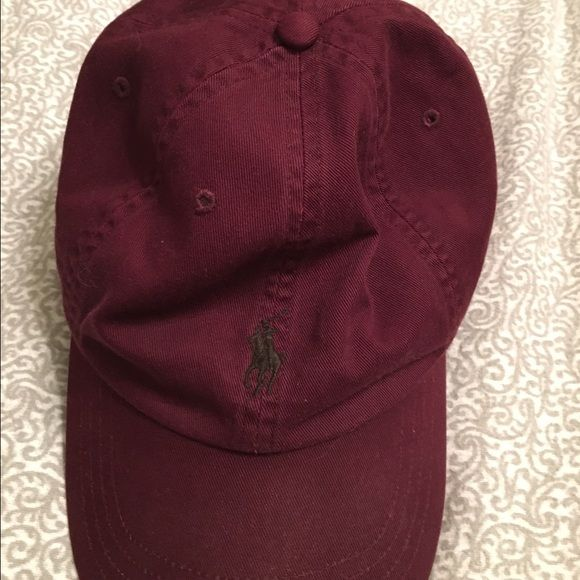 Maroon Polo Hat Real polo brand. Leather strap in the back. Barely warn Polo by Ralph Lauren Other