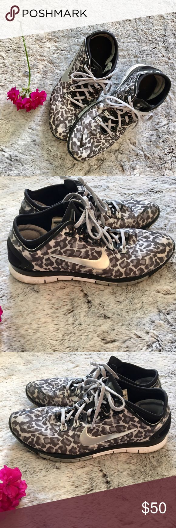 Nike Free 5.0 Run in style! Gently used Nike leopard print free runs. No tears, just a little dirty & discolored on front (shown in picture). Very comfortable. Nike Shoes Sneakers