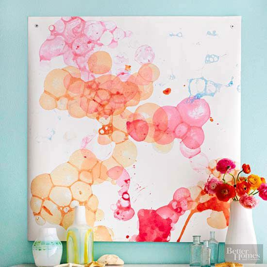 水彩バブルアートで春色のウォールデコ作らない?簡単で楽しいアートのススメ♪
