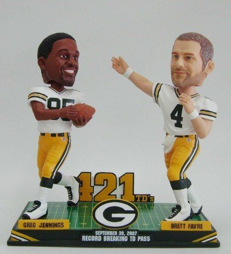 Brett Favre and Greg Jennings Bobblehead 421 Touch Down Record Only 421 were made Green Bay Packers by Forever Collectibles. $82.95. Bobblehead, NFL, Football ,  Green Bay Packers,. Brett Favre, Greg Jennings. Brett Favre and Greg Jennings Bobblehead 421 Touch Down Record Only 421 were made. Each are individually numbered and in a collectors box This is exclusive no where else this can be found