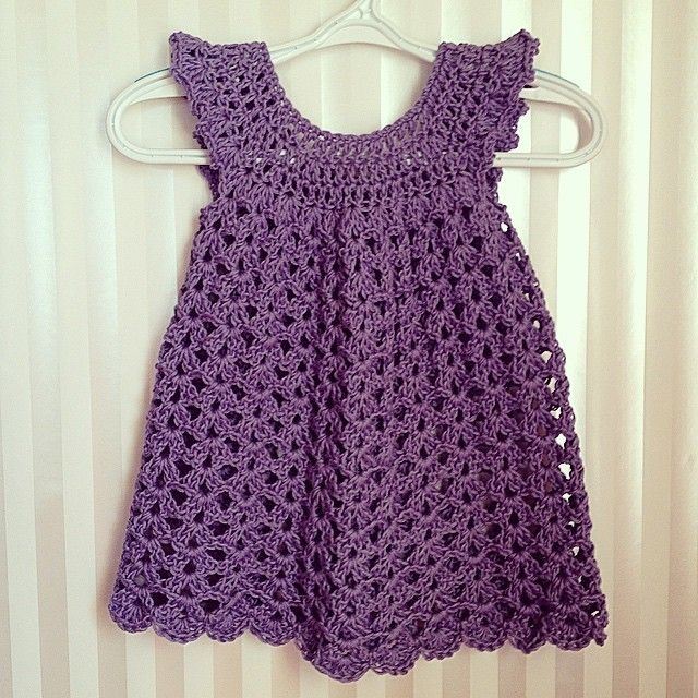 Pattern I used for this baby dress on my website: heatherisahooker.wix.com/heatherisahooker #crochet #hooker #pattern #baby #dress #purple