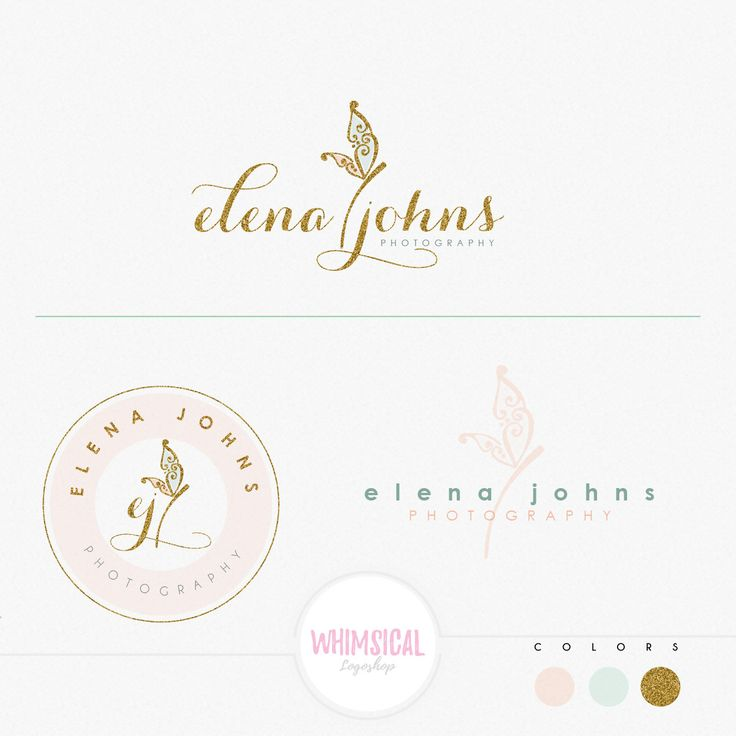 Cute Dragonfly logo- Premade Photography Logo and Watermark, Classic Elegant Script Font GOLD GLITTER butterfly children Calligraphy