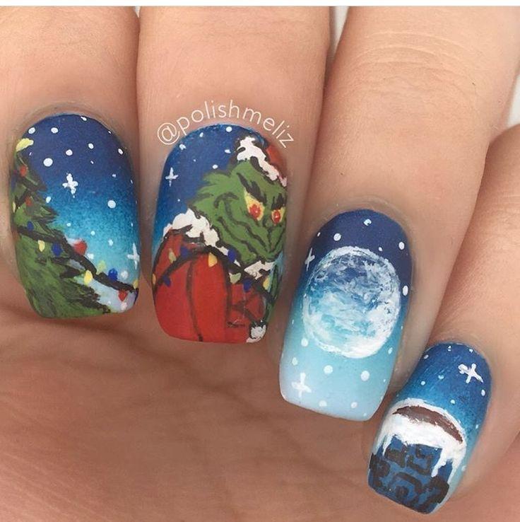 Grinch Christmas scene nails