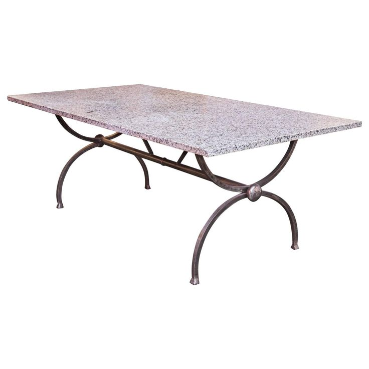 Forged Steel and Granite Dining Table   From a unique collection of antique and modern dining room tables at https://www.1stdibs.com/furniture/tables/dining-room-tables/