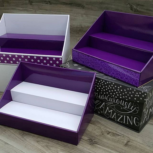 """We love this shade of purple!  Give your products the """"royal"""" treatment with any of our purple displays! ♚ Vendor table and craft show displays."""