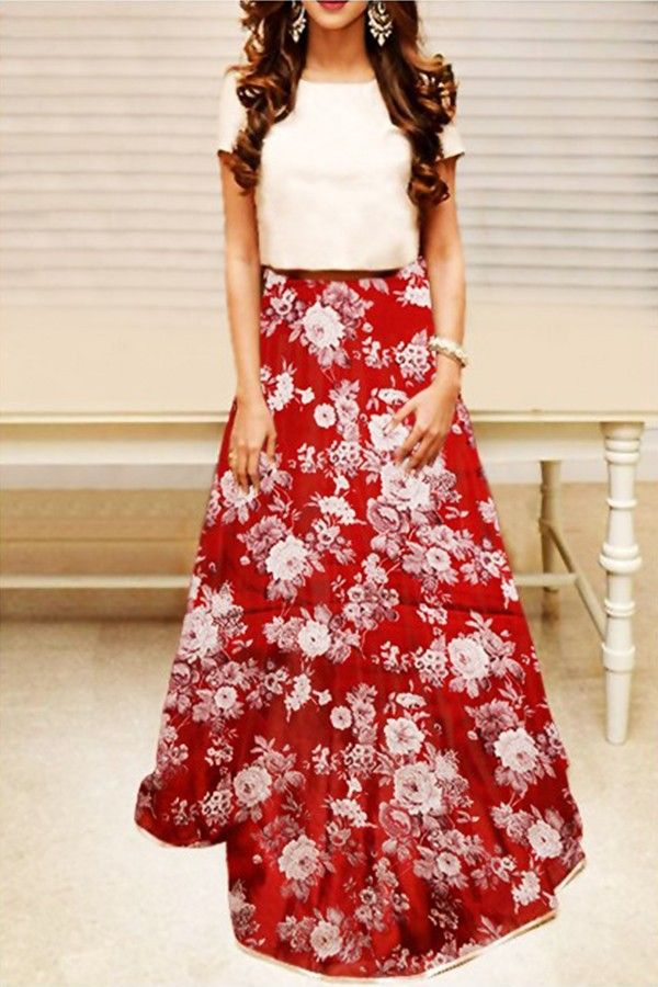 Street Style Store White & Red Floral Printed Lehengas #Street Style Store , #Folral ,#Dupion Silk