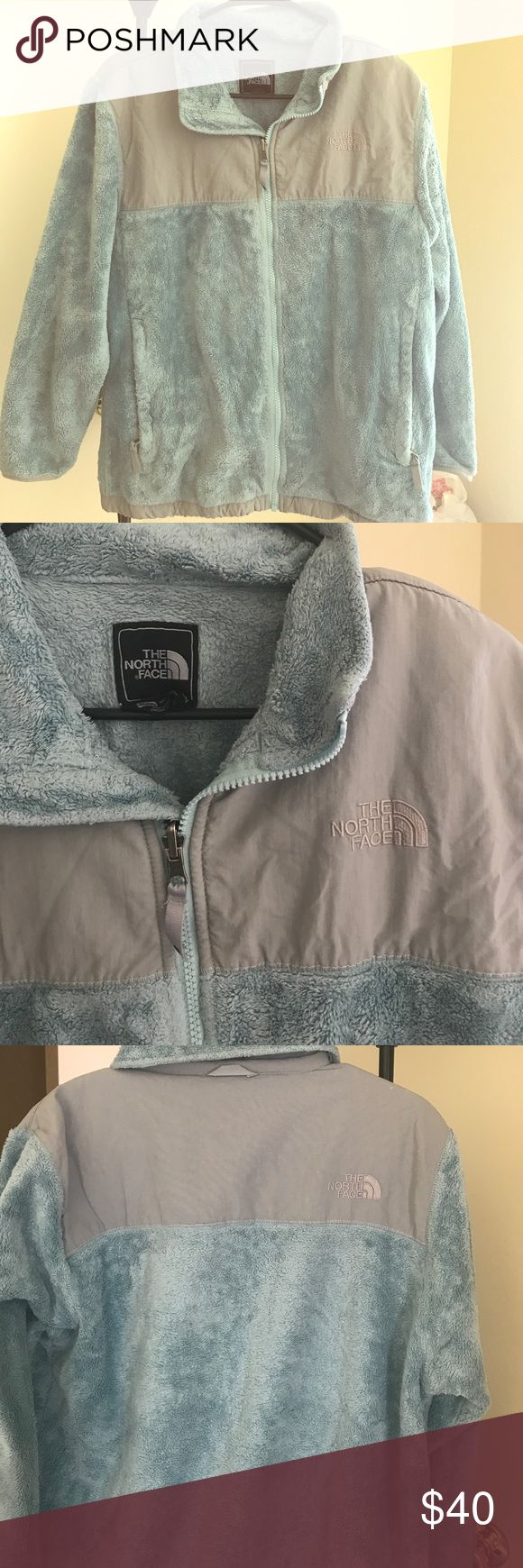 Girls north face jacket! Light blue and gray girls north face jacket. It's fleece and barely been worn! Super warm, soft and comfy! North Face Jackets & Coats