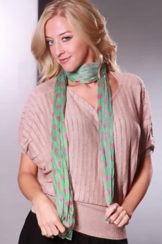 Green Pink Sheer Shimmer Polka Dot Print Scarf