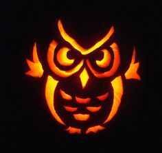 easy owl pumpkin carving patterns - Google Search