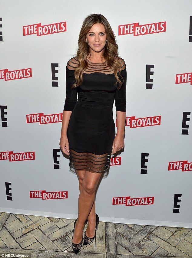 Reigning the carpet:Elizabeth Hurley showed she has still got what it takes to command a red carpet at the screening of Season 2 of The Royals in Los Angeles, California, on Sunday night