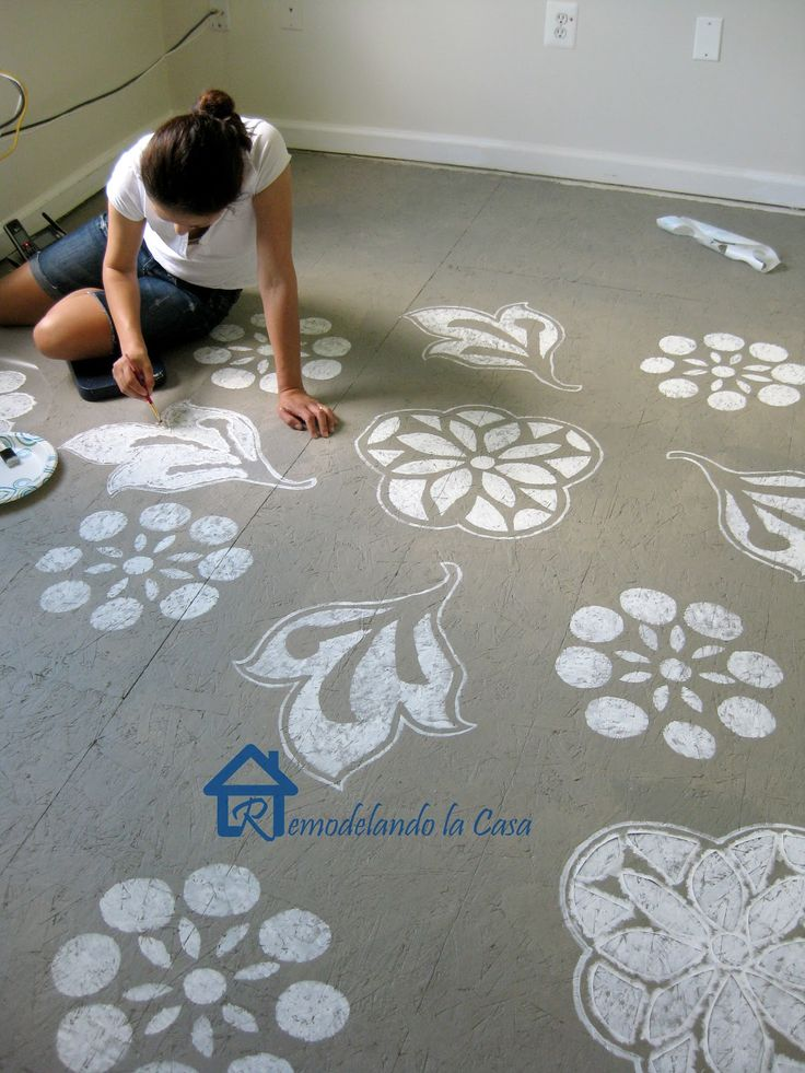 Diy Painted Designs On Floor In 2019 Diy Flooring