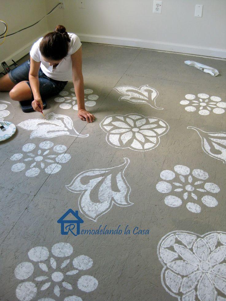 diy painted designs on floor on design and diy and crafts. Black Bedroom Furniture Sets. Home Design Ideas