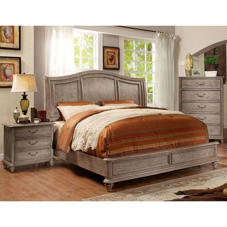 Nice Furniture Of America Minka I Rustic Grey Platform Bed (Queen)