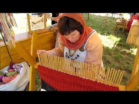 ▶ Viking Handcraft: Stick Weaving - YouTube  Stick weaving is usually done with 6 or less sticks (whatever you can hold comfortably). A peg loom is the same technique but allows you to make larger items. I love love love this!