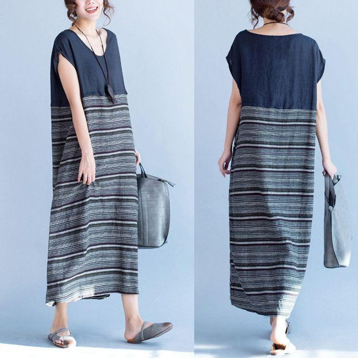 Women summer bat sleeve loose cotton linen dress | Buykud