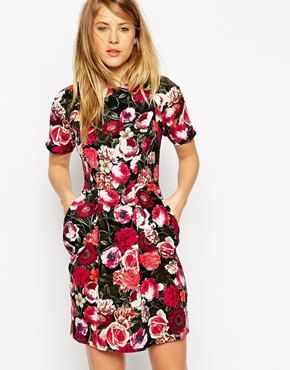 ASOS Mini Dress with Drape Pockets in Floral Print, for bridal shower?
