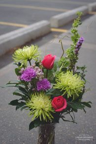 Vase Bouquets, Funky Pink and Green Designed by Best Buds Flower Company.