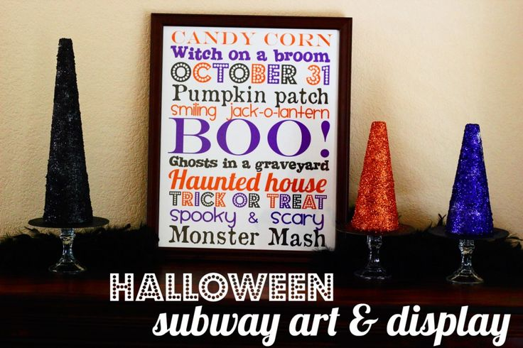 Halloween Subway Art & Glittered Witches' Hats FREE PRINTABLE