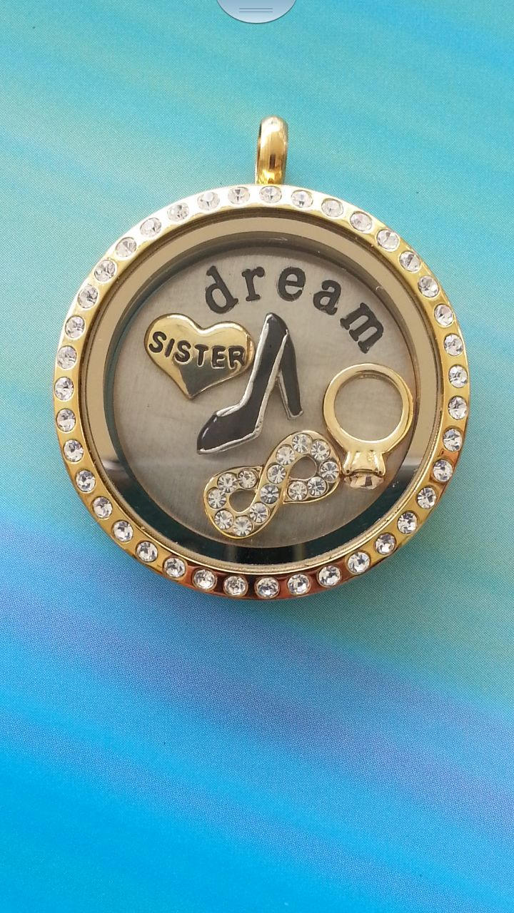 Large Gold Locket with Crystals, including 'dream' plate and charms https://www.facebook.com/littletreazures
