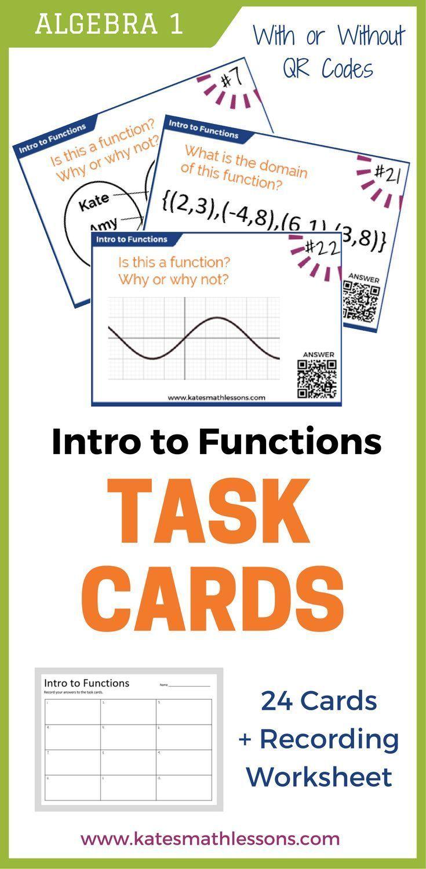 Intro To Functions Task Cards Task Cards Teaching Algebra Algebra