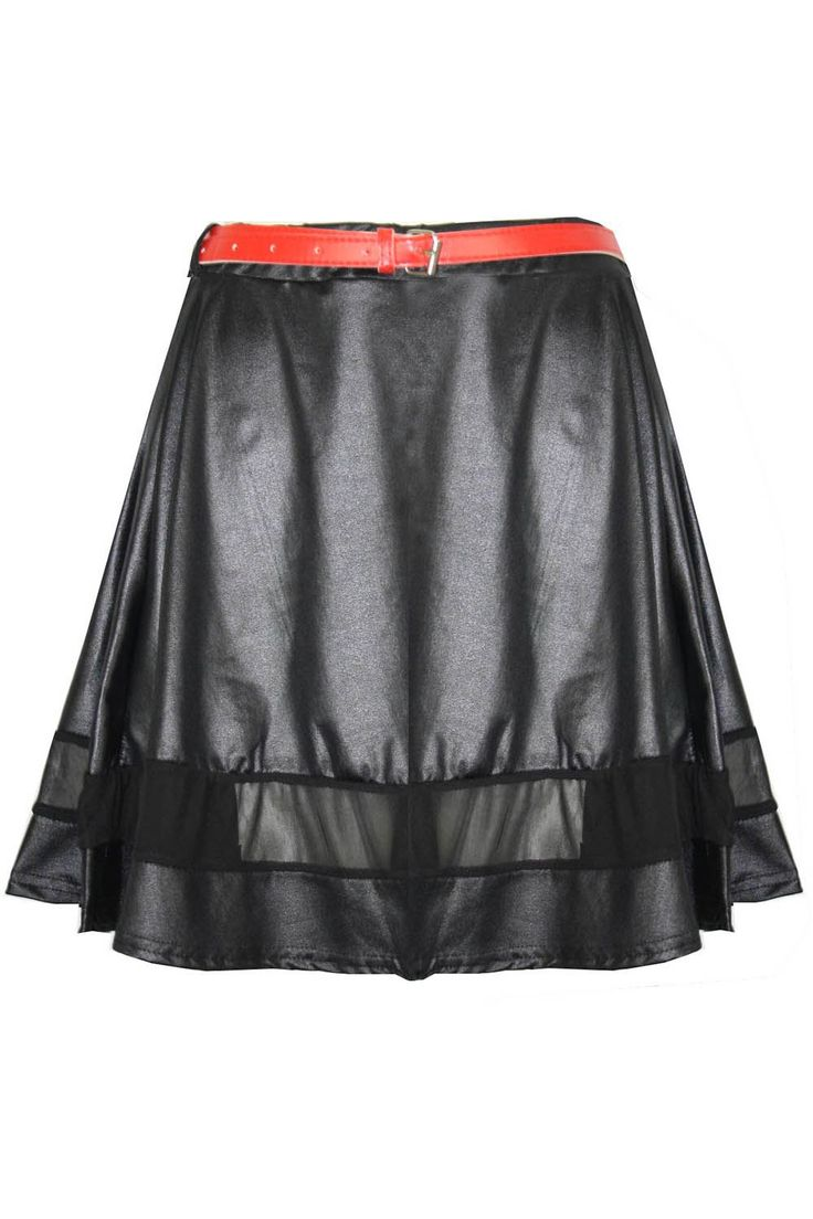 Womens-Ladies-Belted-Mesh-Panel-Leather-Wet-Look-Bodycon-Pencil-Skater-Skirt-SML