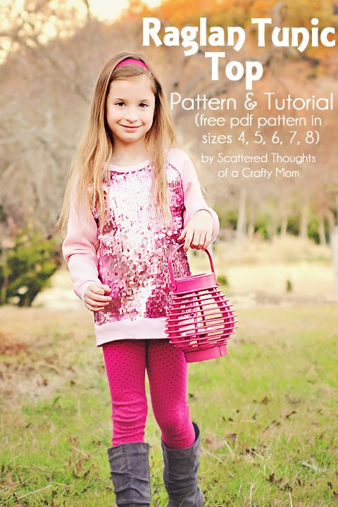 Sew a Raglan-style Tunic top for your little one using this free PDF pattern in sizes 4, 5, 6, 7, 8. #freepattern