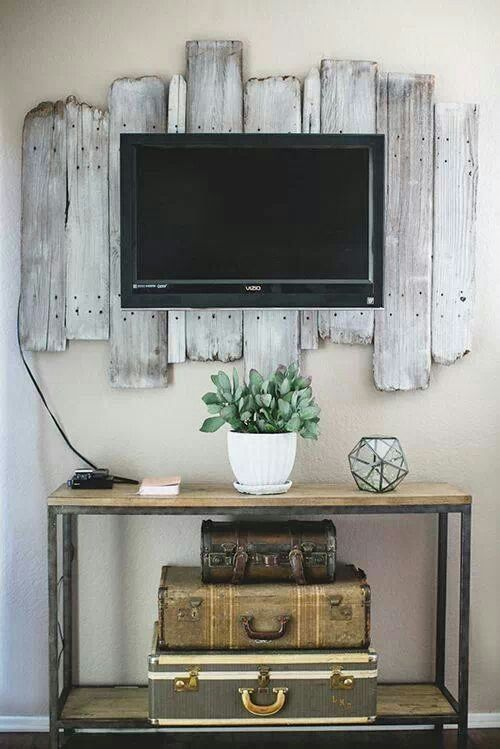 Rustic and aged, behind the flatscreen TV