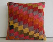 decorative throw pillow kilim pillow cover turkish cushion cover decorative pillow case accent decoration crochet handcrafted midcentury rug