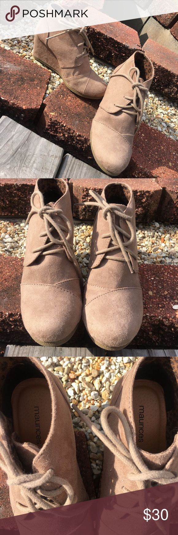 Maurice's Ankle Booties Tan and will match with just about everything. No flaws at all. Worn maybe twice. Little to no wear at the bottom. Very stylish for fall and winter events. Maurices Shoes Ankle Boots & Booties