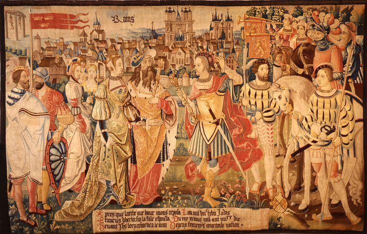 Cinquième pièce de la Tenture de l'Histoire fabuleuse des Gaules, représentant le mariage de Francus avec la fille du roi Remus devant les murs de la ville de Reims, 1530, Reims