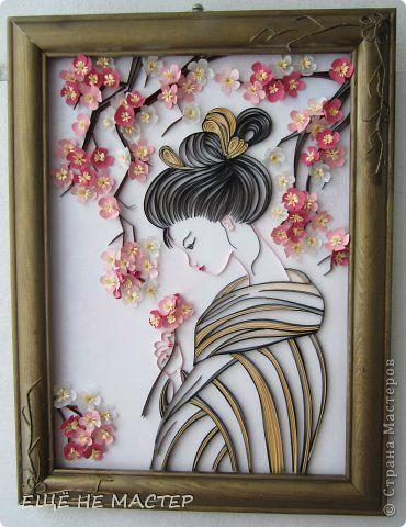 Картина панно рисунок Квиллинг Сакура цветёт Бумага Бумажные полосы фото 1