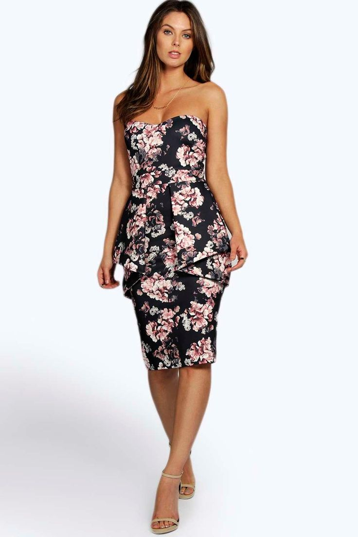 Millie Bandeau Peplum Bodycon Dress - ThingLink