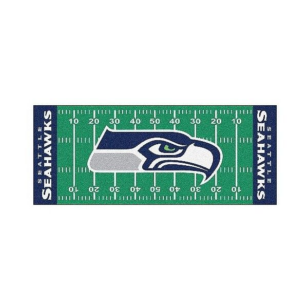 Seattle Seahawks Fanmats Football Field Runner Rug, Multi-Colored ($52) ❤ liked on Polyvore featuring home, rugs, machine washable rugs, multi coloured rug, coloured rug, football rug and colored rugs