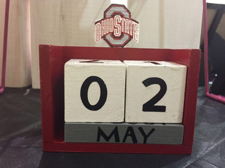 Wooden OSU Block Calendar, Red, Black, Gray and White, Desk Calendar, Office Supplies, Teacher Gift, Principal Gift, Secretary Gift - pinned by pin4etsy.com
