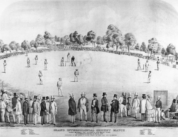 Intercolonial cricket match, Melbourne Cricket Ground, 1858