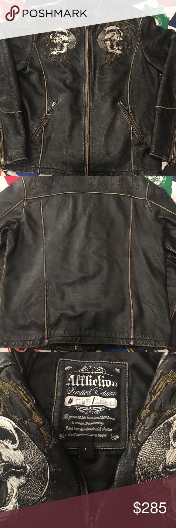Affliction Limited Edition Skull Leather Jacket