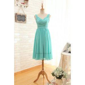 Short V-neckline Tiffany Blue Bridesmaid Dress