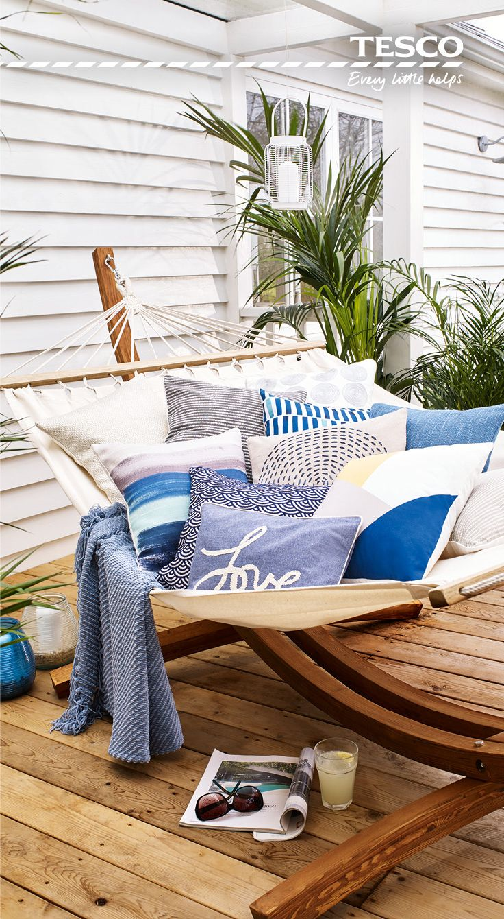 From soft touches such as a chambray  love  cushion  to a wooden garden  hammock at which is sure to be the envy of all the neighbours  relaxing in  the great. 26 best Spring Ideas for Home   Garden   Tesco images on Pinterest