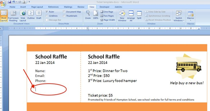 Raffle Ticket Creator helps you print numbered tickets at home, using Word, Publisher or online using our special app.