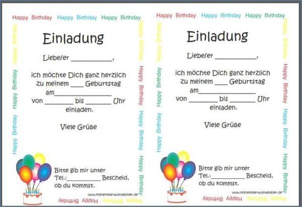 Vorlage Einladung Klassentreffen Word Birthday Template