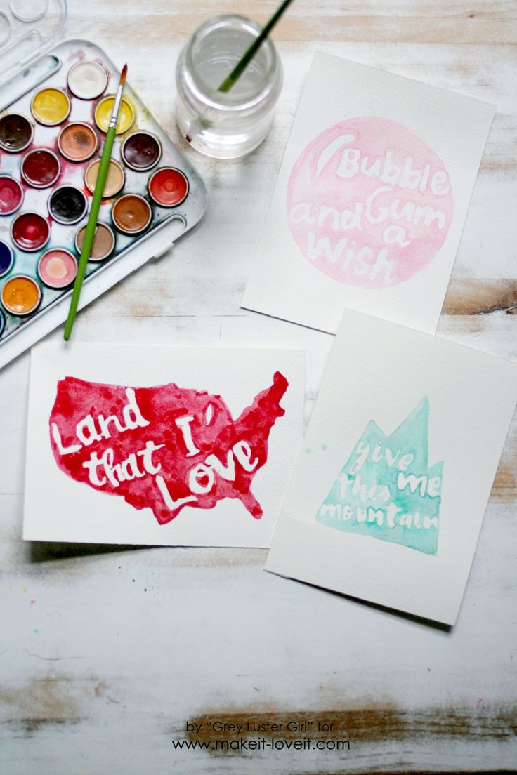 How to create EASY Watercolor Typography   via Make It and Love It