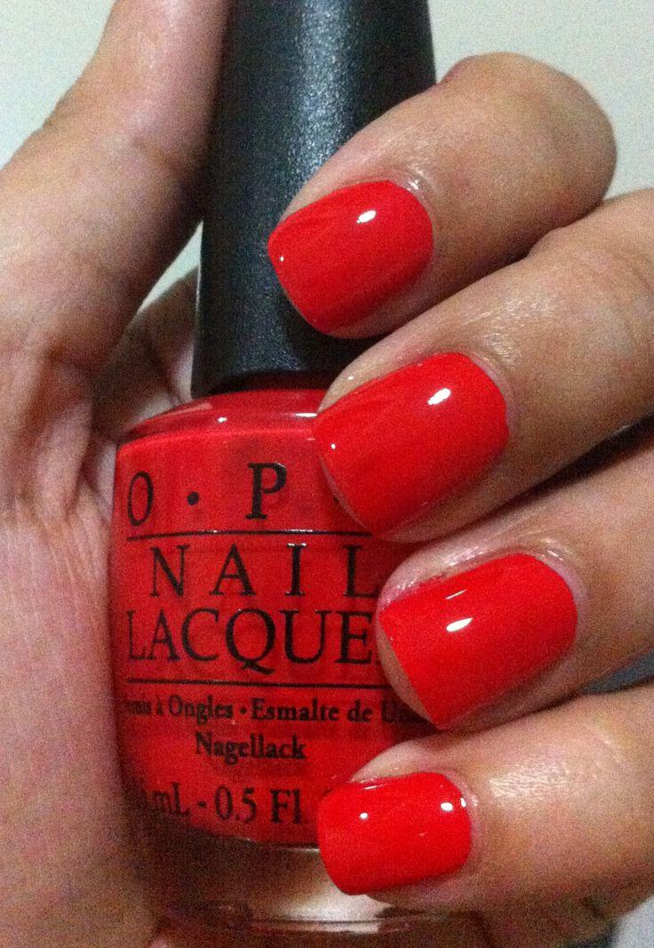 OPI Monsooner or Later. Perfect poppy red