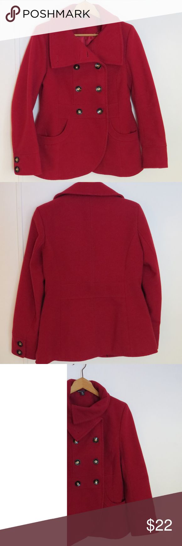 George Crimson Red Double Breasted Peacoat Small George Womens Peacoat Size Small 4-6 Crimson Red Double Breasted Lined Coat Color: Rich Plumb Machine Washable In Excellent Used Condition George Jackets & Coats Pea Coats