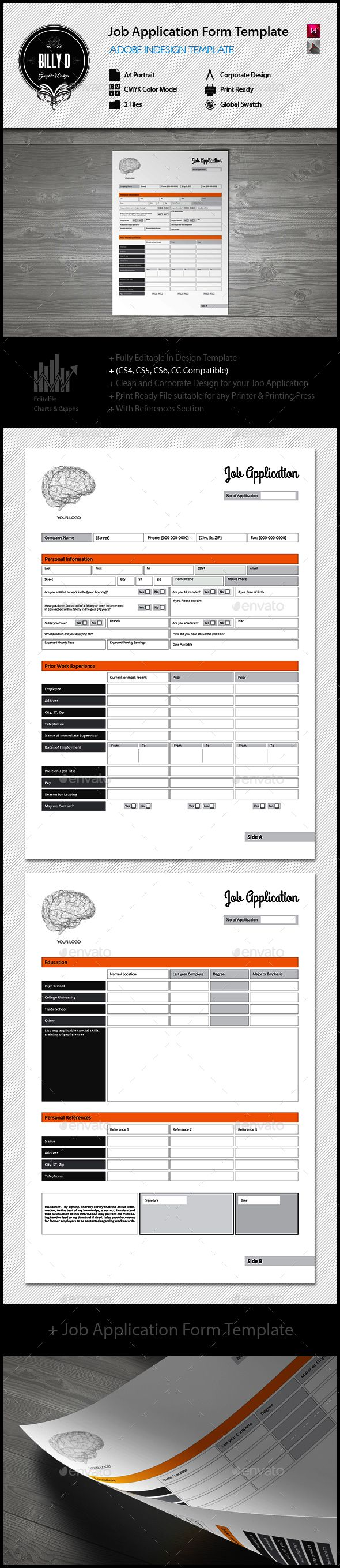 Job Application Form Template — InDesign INDD #a4 #job template • Available here → https://graphicriver.net/item/job-application-form-template/12998522?ref=pxcr