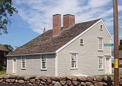 The John Quincy Adams Birthplace, in Quincy, Massachusetts, is the saltbox home in which United States President John Quincy Adams was born in 1767. The birthplace of Adams' father, President John Adams, is only a few feet away, on the same property.