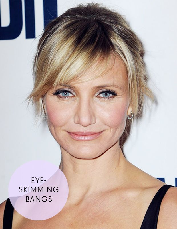 Choose eye-skimming bangs like Cameron Diaz if you have a square face shape.