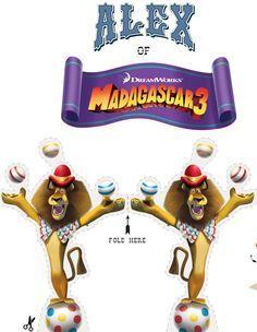 Fazendo a Minha Festa Infantil: Bonecos Alex e Glória do Madagascar 3 para Imprimir, Recortar e Colar!